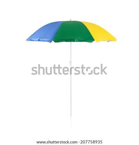 Colorful beach sunshade isolated on white background #207758935