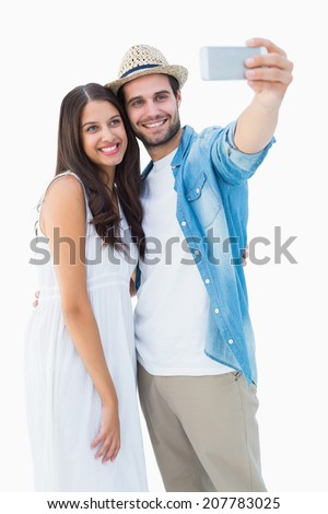 Happy hipster couple taking a selfie on white background #207783025