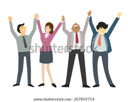 Happy and successful businesspeople,  holding hand and raising hands, business concept in teamwork and corporation. #207859714