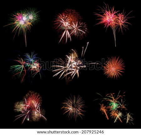 Beautiful firework set on black background. Very large resolution picture.