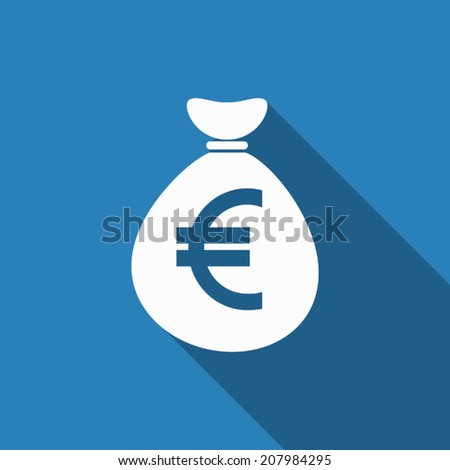 money bag euro icon with long shadow #207984295