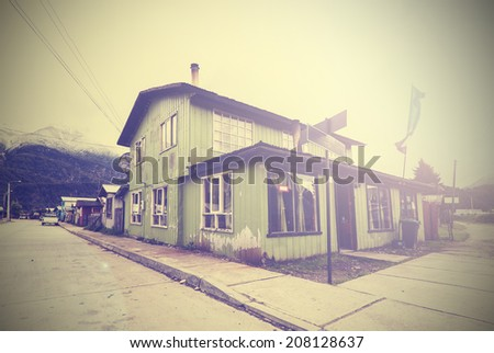 Vintage picture of mountain village street. #208128637