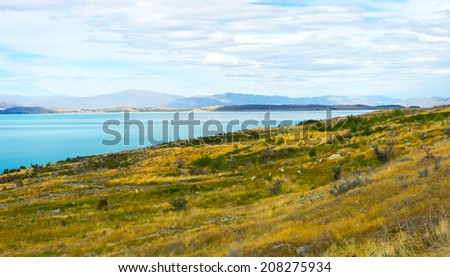 Natural landscape of New Zealand alps and lake #208275934