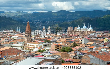 View of the city of Cuenca, Ecuador, with it's many churches, on a cloudy day #208336102