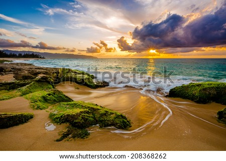 Beautiful North Shore Hawaii Sunset Royalty-Free Stock Photo #208368262