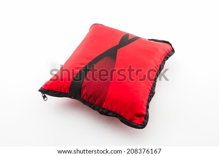 Red bright pillow with zipper on white background. #208376167