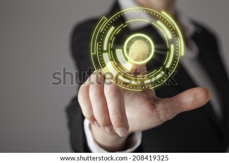 Businesswoman in front of visual touch screen. #208419325
