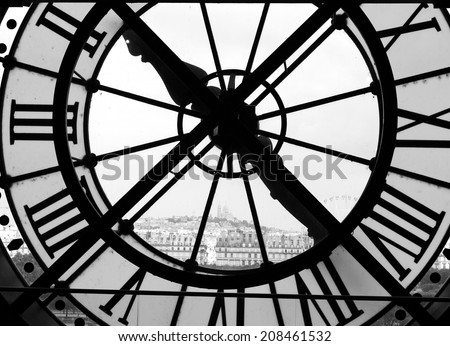 Panorama of Montmarte truth the clock of the D'Orsay, Paris (bw)