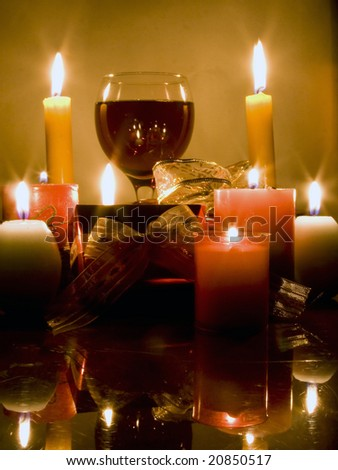 Christmas gifts, candles and red wine #20850517