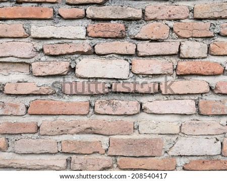 Old red brick wall #208540417