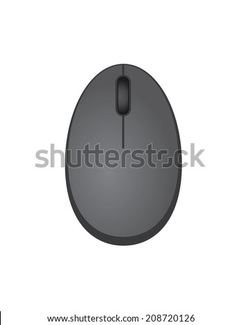 pc mouse vector illustration in flat design with grey color #208720126