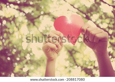 Hands holding paper heart. Instagram effect #208817080
