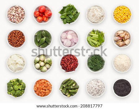 composite with many different varieties of ingredients and spices Royalty-Free Stock Photo #208817797