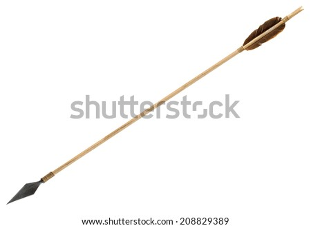 Antique old wooden arrow isolated on a white background #208829389