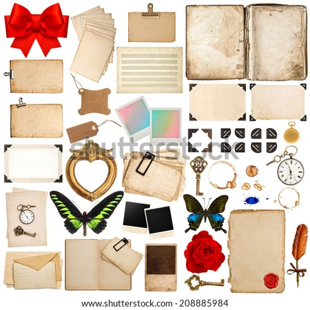 old book pages, paper sheets, cards, corner and photo frames isolated on white background. scrapbook elements for holidays greetings Royalty-Free Stock Photo #208885984
