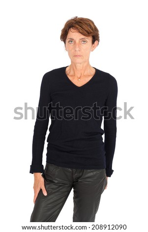 Beautiful woman doing different expressions in different sets of clothes: angry #208912090
