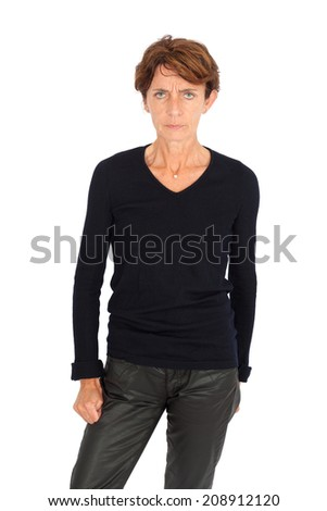 Beautiful woman doing different expressions in different sets of clothes: angry #208912120
