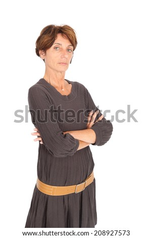 Beautiful woman doing different expressions in different sets of clothes: arms crossed #208927573