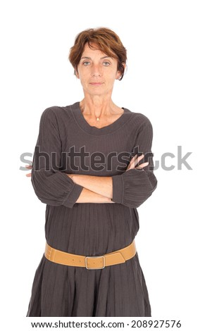 Beautiful woman doing different expressions in different sets of clothes: arms crossed #208927576