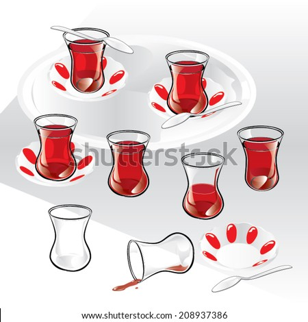 Set of Turkish tea and components. Vector, illustration.