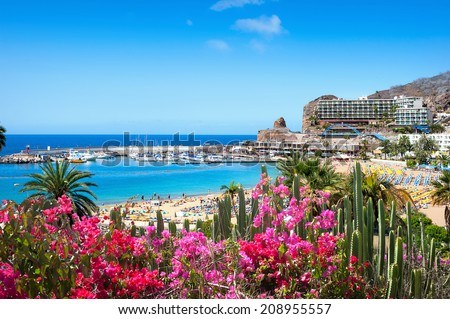 View over Puerto Rico's beach. Gran Canaria, Spain Royalty-Free Stock Photo #208955557
