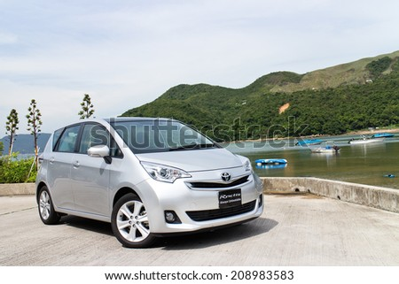 Hong Kong, China Jun 3, 2014 : Toyota Ractis Japan Version 2014 test drive on Jun 3 2014 in Hong Kong. #208983583