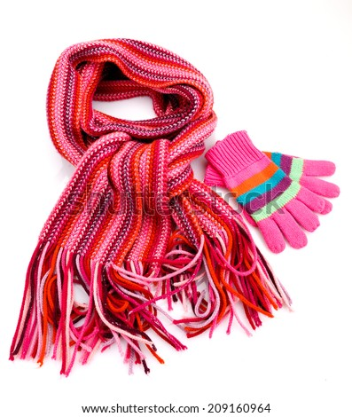 Striped scarf and gloves  isolated  on white #209160964