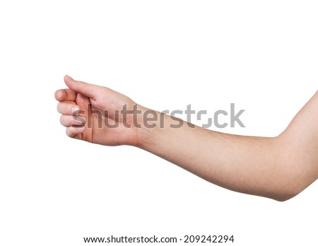 Man's hand hold virtual credit card, business card or blank paper isolated on white background #209242294