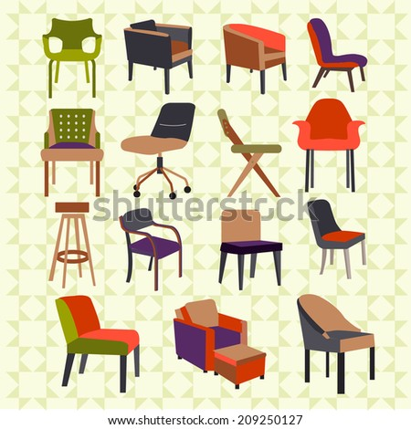 Set icons of chairs interior furniture icon  #209250127