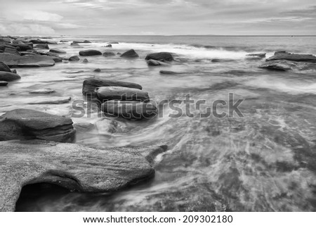 Black and white image of Kings Beach - Sunshine Coast - QLD #209302180