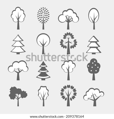 Set of sixteen gray vector trees shape isolated #209378164