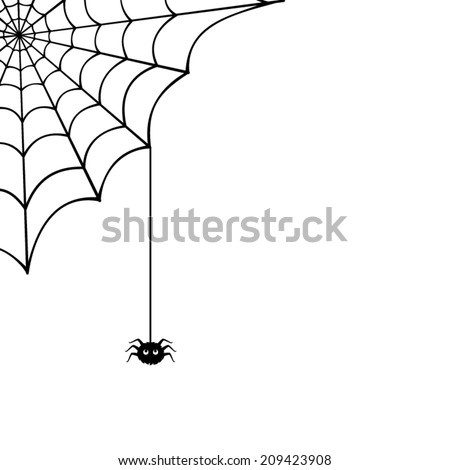 Vector spider web and small spider on a white background. #209423908