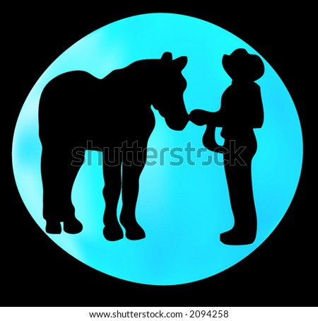 Western type silhouette with blue gradient moon behind #2094258