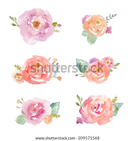 Floral Collection of Colorful Painted Watercolor Flowers Clip Art Bouquets