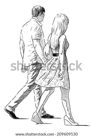 striding couple #209609530