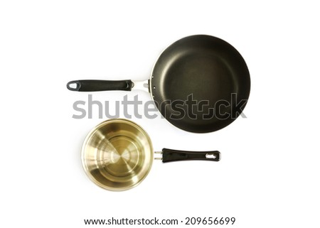 pan and pot isolated on white #209656699