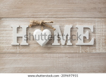 Home sweet home, wooden text on vintage board background with copy space #209697955