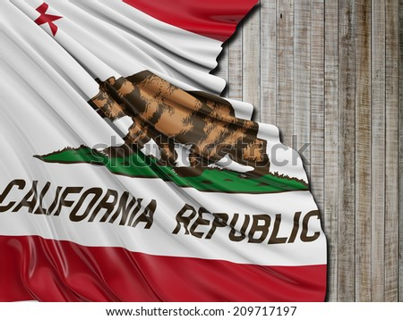 California Republic Flag with vertical wood #209717197