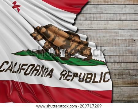 California Republic Flag with horizontal wood #209717209