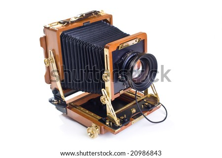 Vintage view camera isolated on white background