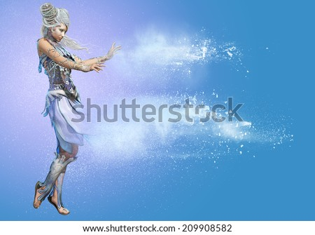 3d computer graphics of a lady in a Snow Queen fantasy dress #209908582