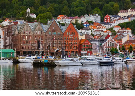 Famous Bryggen street in Bergen Norway - architecture background #209952313