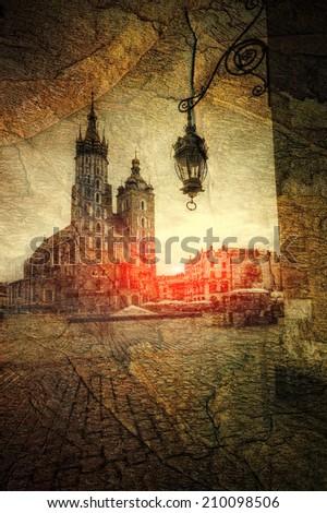 St. Mary's Church in Krakow retro style #210098506
