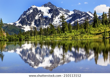 Picture Lake Evergreens Mount Shuksan Mount Baker Highway Snow Mountain Trees Washington Pacific Northwest USA