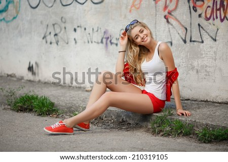 Beautiful woman teenager girl portrait. Happy smiling female outdoor. series #210319105