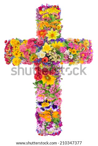 Flowers of a cross of Jesus in my heart concept. Collage from summer plants. Isolated. You can find all the full sized images in my portfolio.