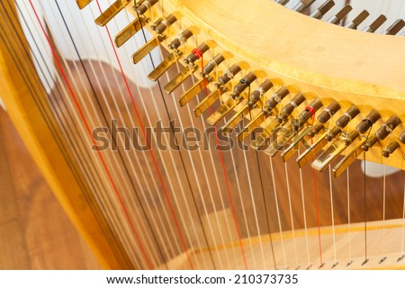 Celtic harp view from top. #210373735