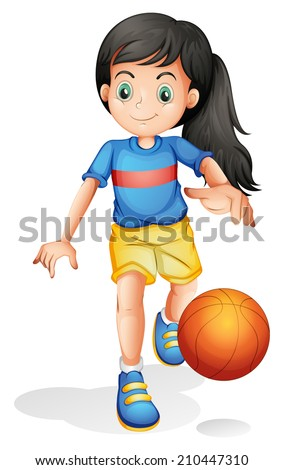 Illustration of a little girl playing basketball on a white background