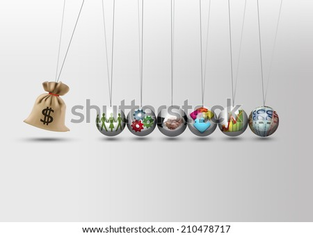 Newtons cradle - investing impact - economy growth concept #210478717