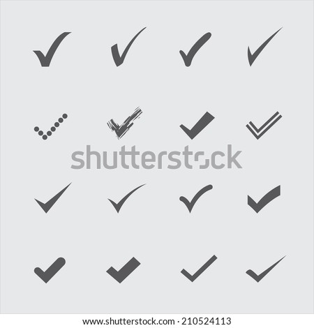 Set of gray confirm icons in vector